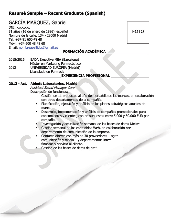 Resume/CV Samples (Spain) GoinGlobal