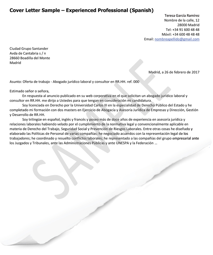Cover Letter Samples (Spain) GoinGlobal