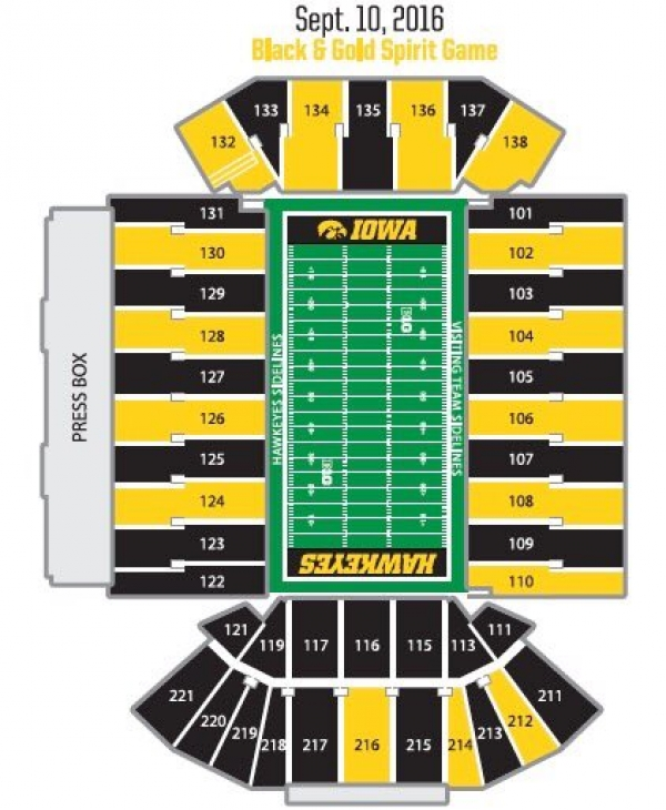 Seating Chart Colors For The Black and Gold Spirit Game Go Iowa