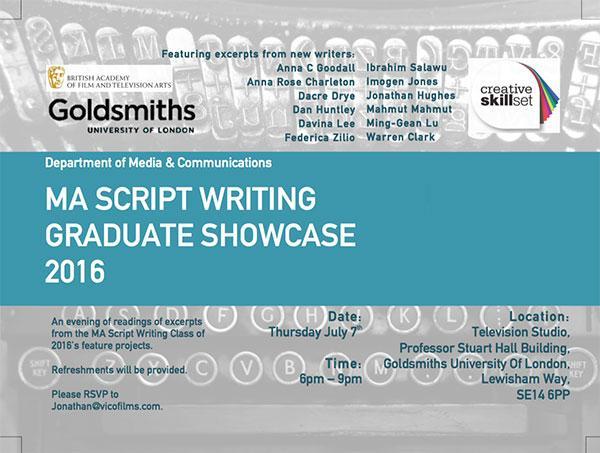 MA Script Writing Goldsmiths, University of London