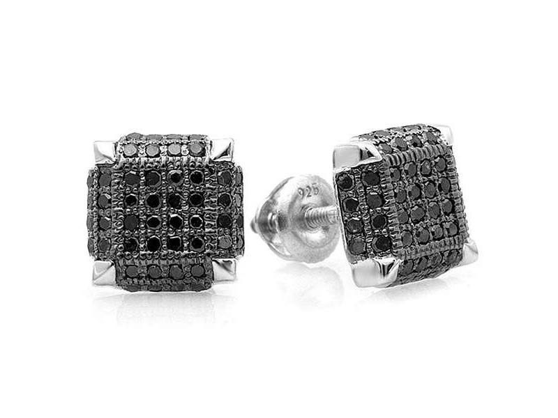 Black Diamond Earrings Men S Black Diamond Stud Earrings