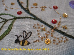 Busy Bee Embroidery Close up