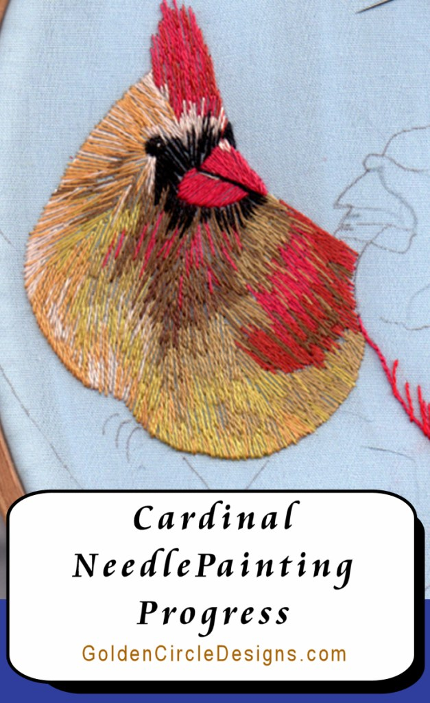 Progress on my Cardinals needlepainting . Closeups of stitches included in post.