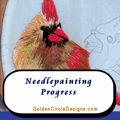 Cardinal Needlepainting Progress