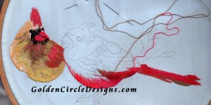 Progress on my Cardinal needlepainting . Click to enlarge image for closeups of stitches.