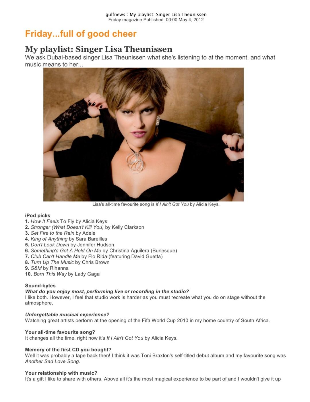 The Fridge - Gulf News Interview Press Release, Dubai 2012