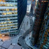 Looking down from Switch House viewing level with the Blue Fin building on the left, and Neo Bankside buildings to your right