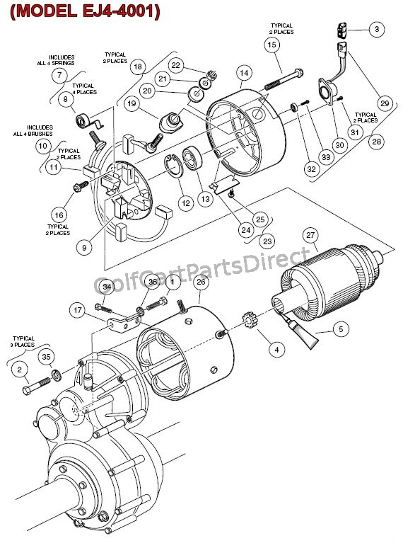 Electric Motor - (MODEL EJ4-4001) - Club Car parts  accessories