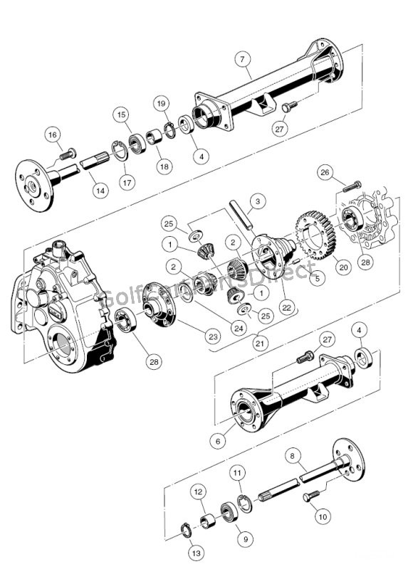 Transaxle - Gasoline, Differential  Axles - Club Car parts