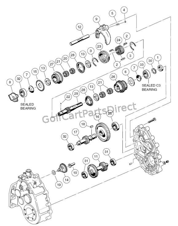 gas club car transmission parts diagram