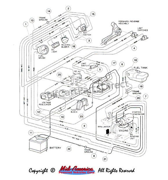wiring gas vehicle club car parts accessories