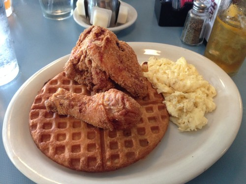 High Hat Cafe cornmeal fried chicken and waffles