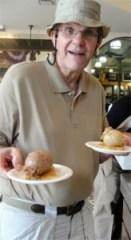 A man enjoying ice cream at the Soda Shop