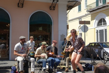 Tap your toes to the Steamboat Calypso Destination Fun Time band on Royal Street