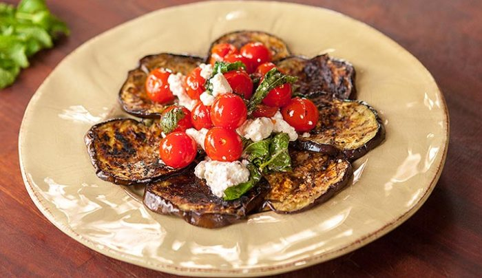 BBQ Eggplant with Tomato, Feta & Mint Salad - Good Chef Bad Chef