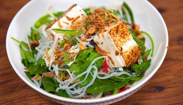 Grilled Tofu with Angel Hair Noodle Salad - Good Chef Bad Chef