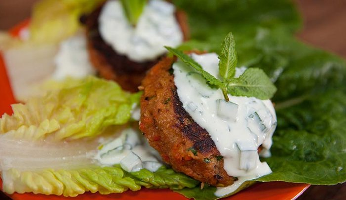 Salmon Burgers with Yoghurt Cucumber Sauce In a Lettuce Cup - Good ...
