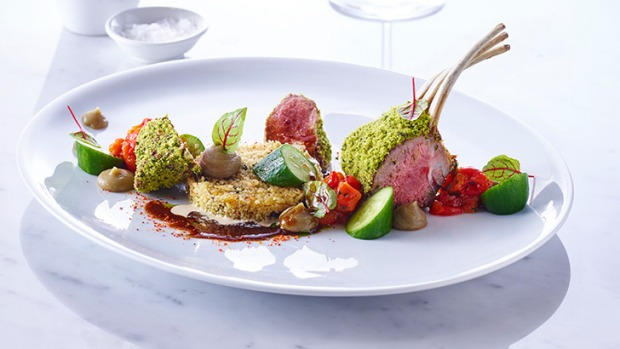 Roasted Rack Of Lamb With Charred Eggplant Puree Couscous