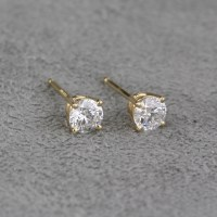 Pre-Owned 14 Karat Yellow Gold Diamond Stud Earrings