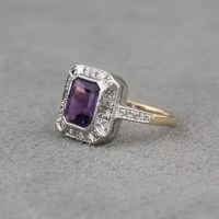 Pre-Owned 14 Karat Two Tone Gold Amethyst and Diamond Ring