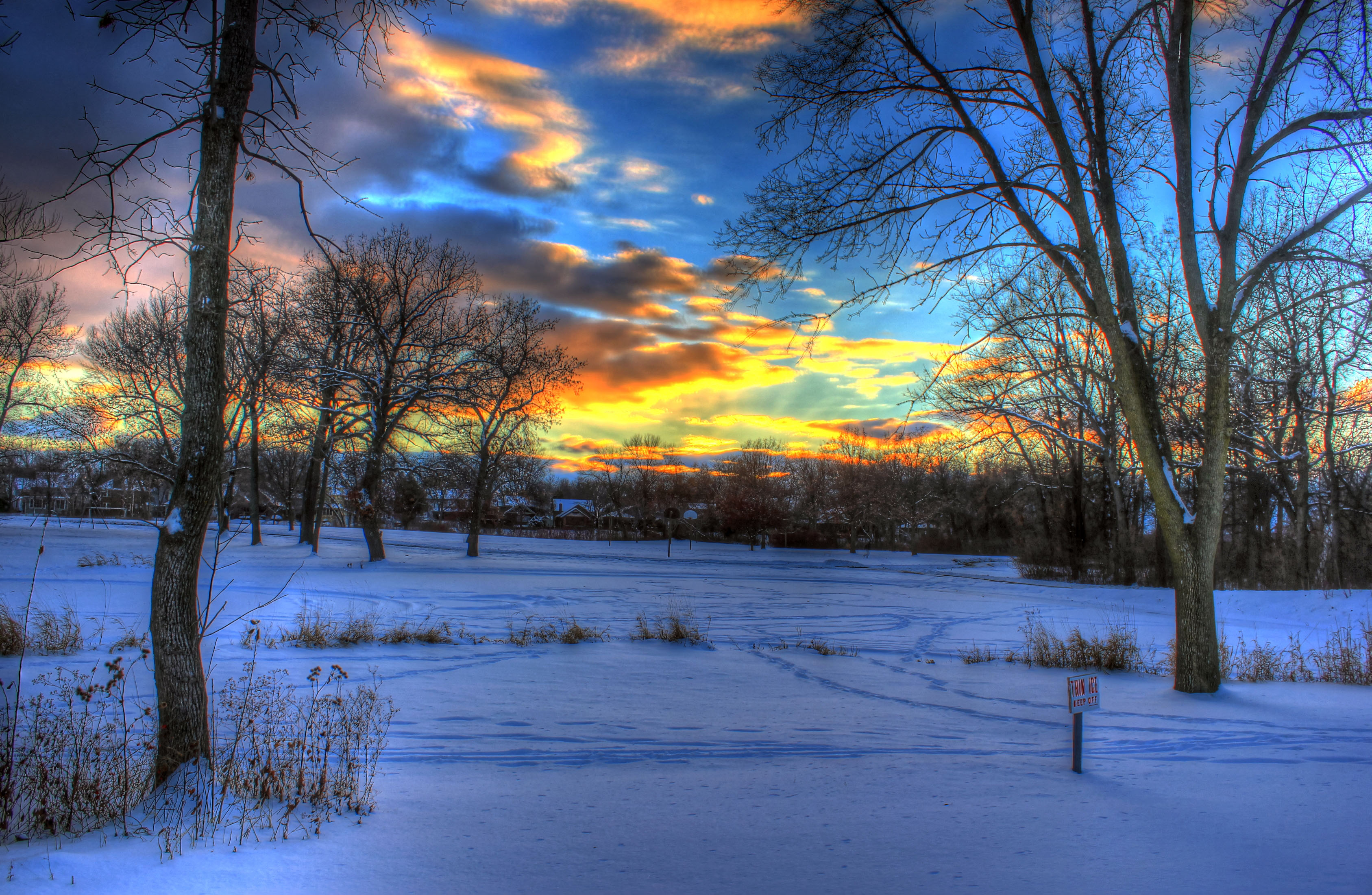 3d Painting Hd Wallpaper Winter Sunset In Madison Wisconsin Image Free Stock