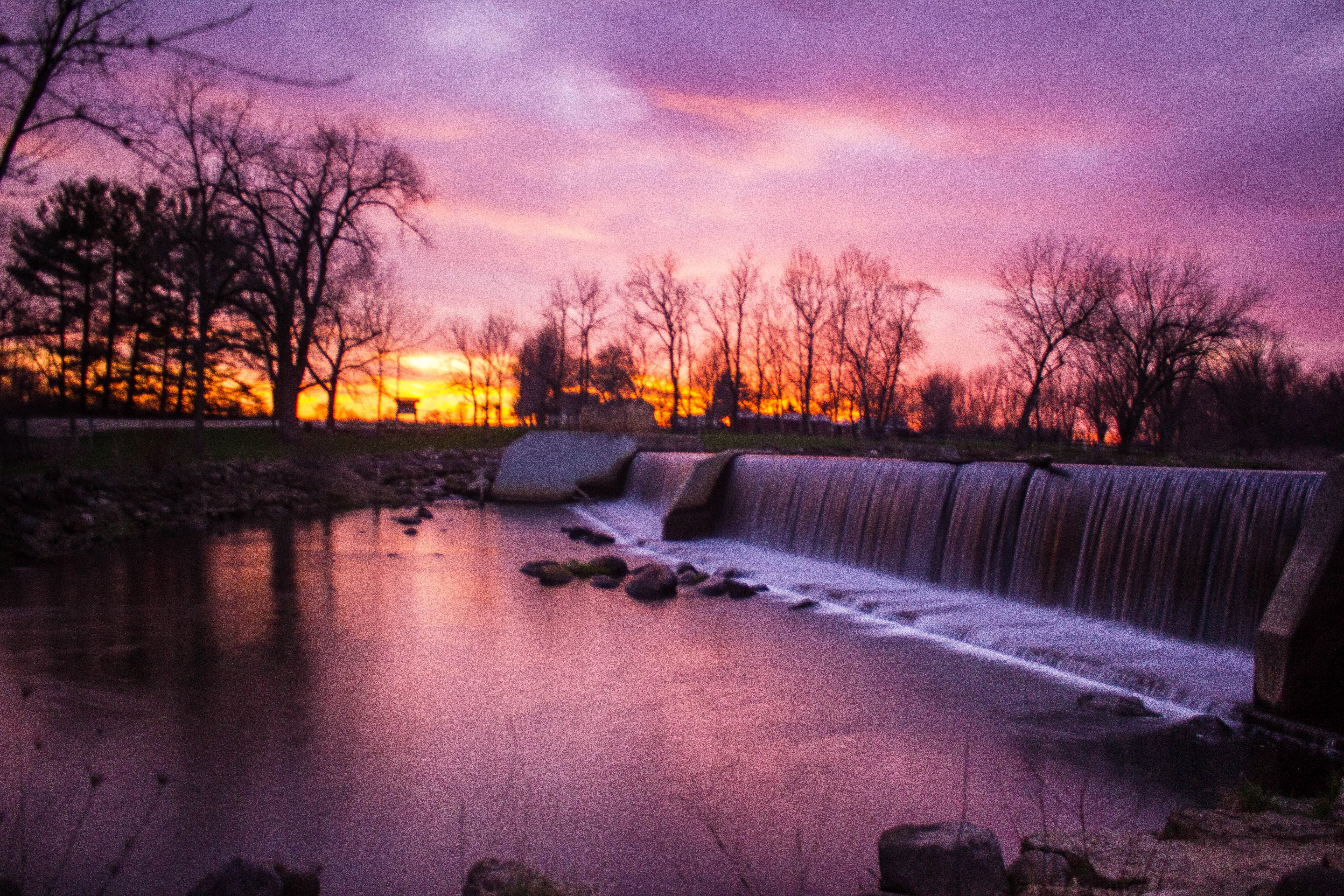 Wallpaper Of Water Fall Landscapes And Purple Sunset At Beckman Mill Wisconsin
