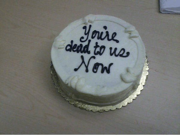 33 Inspirational and Funny Farewell Quotes - resignation letter cake