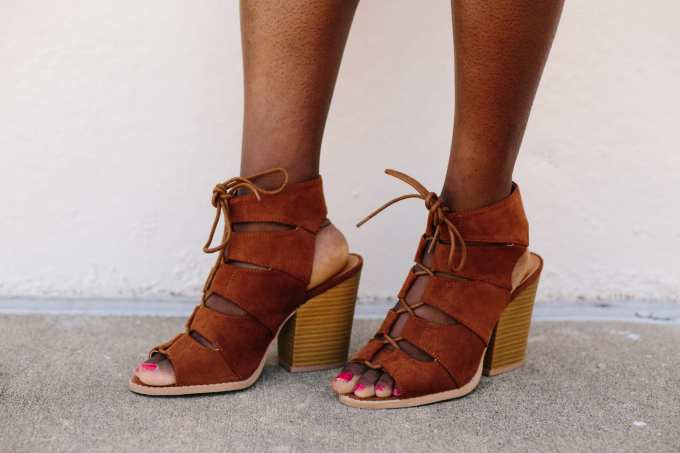 Block Lace Up Heels from shopthemint.com