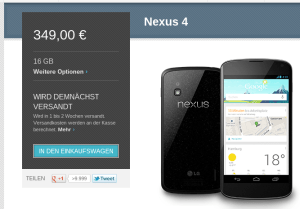 Nexus 4 wieder im Store