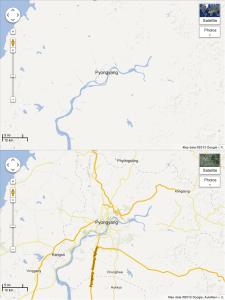 Pyongyang vor und nach dem Maps Update