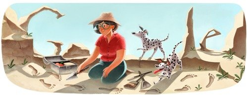 Google Doodle 100. Geburstag von Mary Leakey