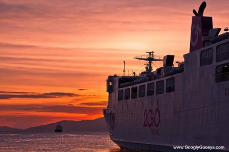 2GO Travel Ship against the Sunset in Batangas
