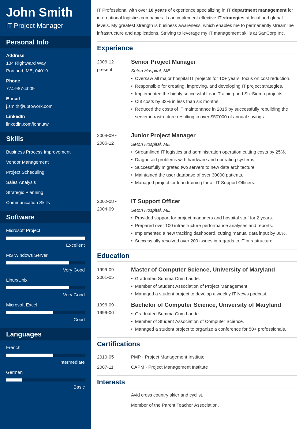 cascade resume template download free