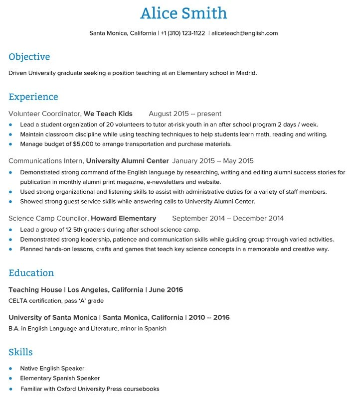 english teacher resume example shows the educators ability to - Teachers Resume Example