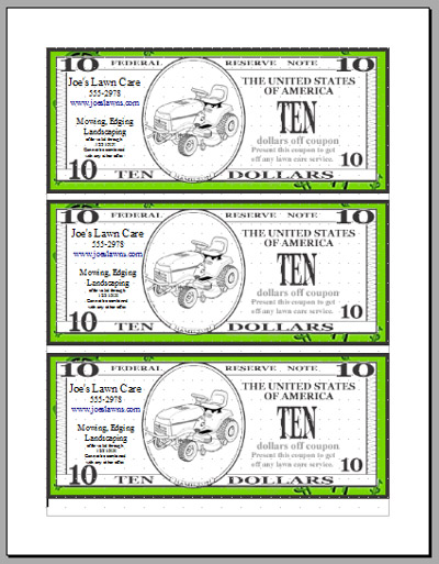 $10 off lawn care customer coupon marketing idea Lawn Care - money coupon template