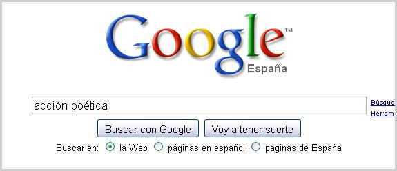 Búsqueda de Acción Poética en Google