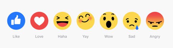 Nuevos botones de emociones de Facebook