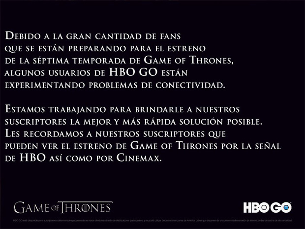 "Fallo de ""Game of Thrones"""