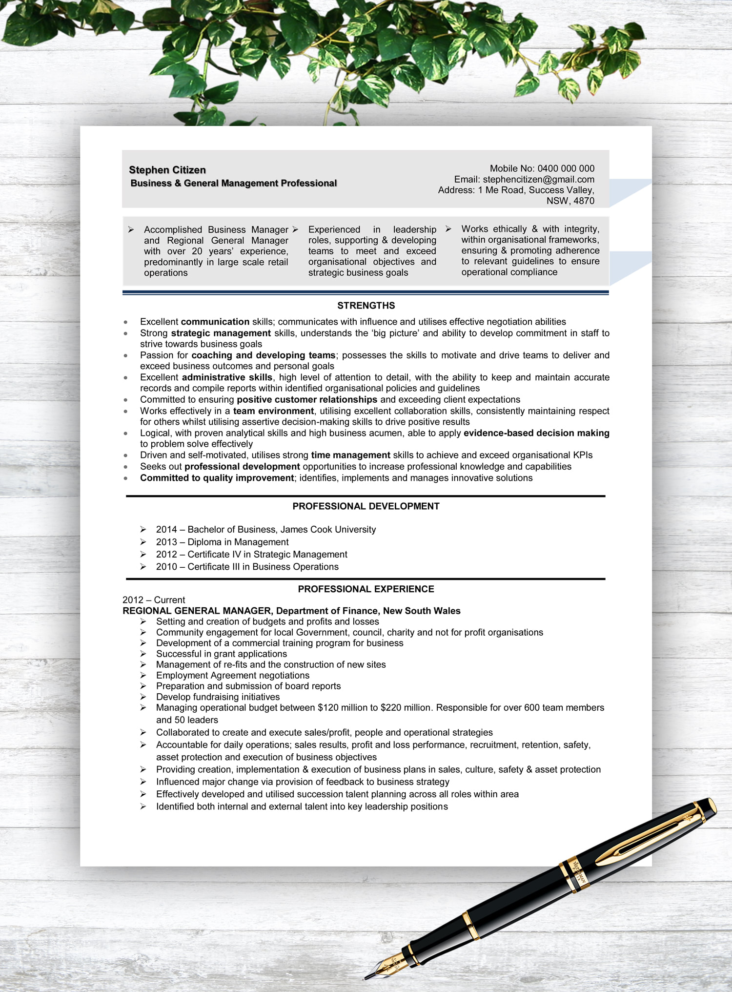 resume writing service townsville