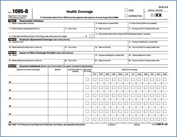 IRS Tax Forms 1095-B GoSafeguard - business form
