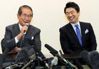 「日本維新の会」の石原慎太郎と橋下徹