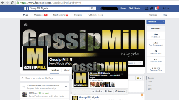 Facebook Deletes Gossip Mill Nigeria's Facebook Page With Over 2.6Million Fans