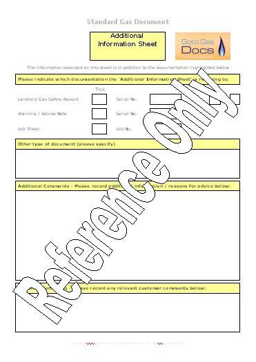 Gas Forms Additional Information Sheet Template (Word) - information sheet template
