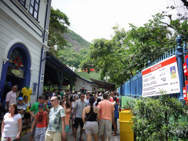 Crowds of People Attempting to Board the Corcovado Tram