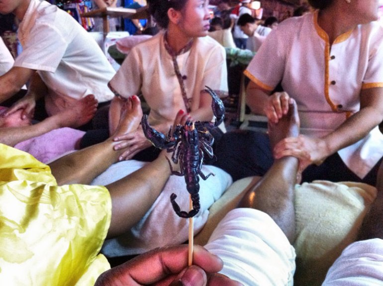 2 Thai Foot Massages and 1 Scorpion - a Delicacy in Thailand