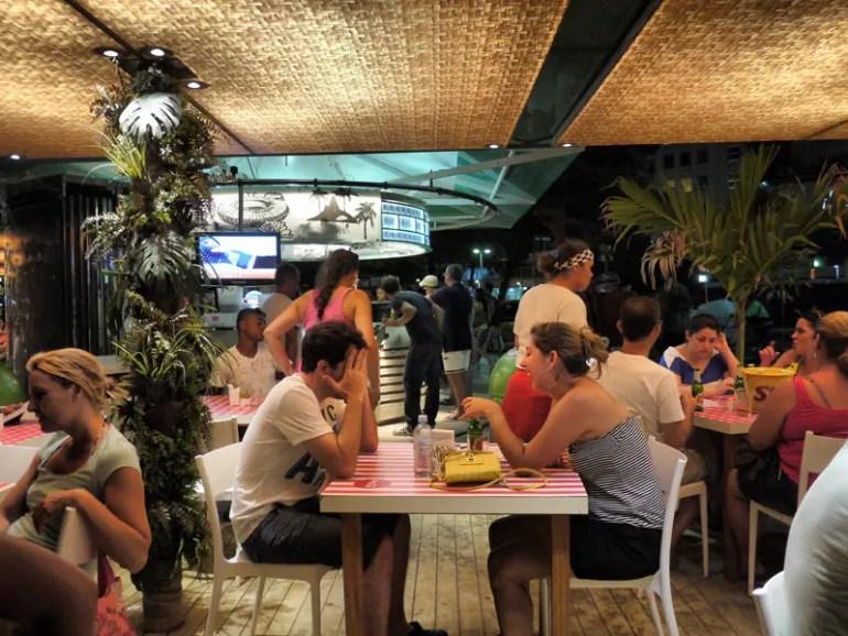 Dining Outdoors at a Beach Bar in Copacabana