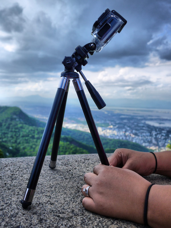 Nat Setting Up the GoPro to Capture Christ the Redeemer and some Cloud Porn