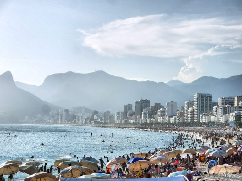 Umbrellas Up - Sunseekers on Ipanema Beach