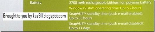 HTC Shift Battery Life Specs