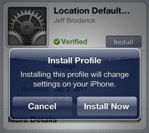 Install Profile for iPhone settings shortcuts